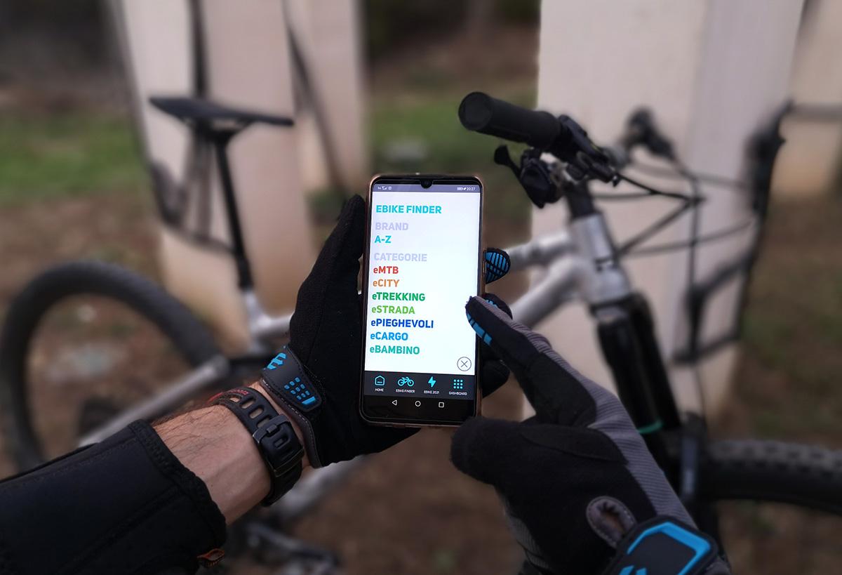 """Una foto della schermata """"Ebike Finder"""" della nuova app BiciLive per trovare le ebike adatta ad ogni esigenza"""