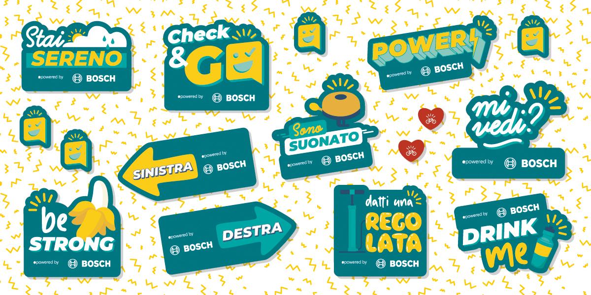 """Gli adesivi forniti da Bosch per l'operazione di sensibilizzazione """"Check and Go"""" 2021"""