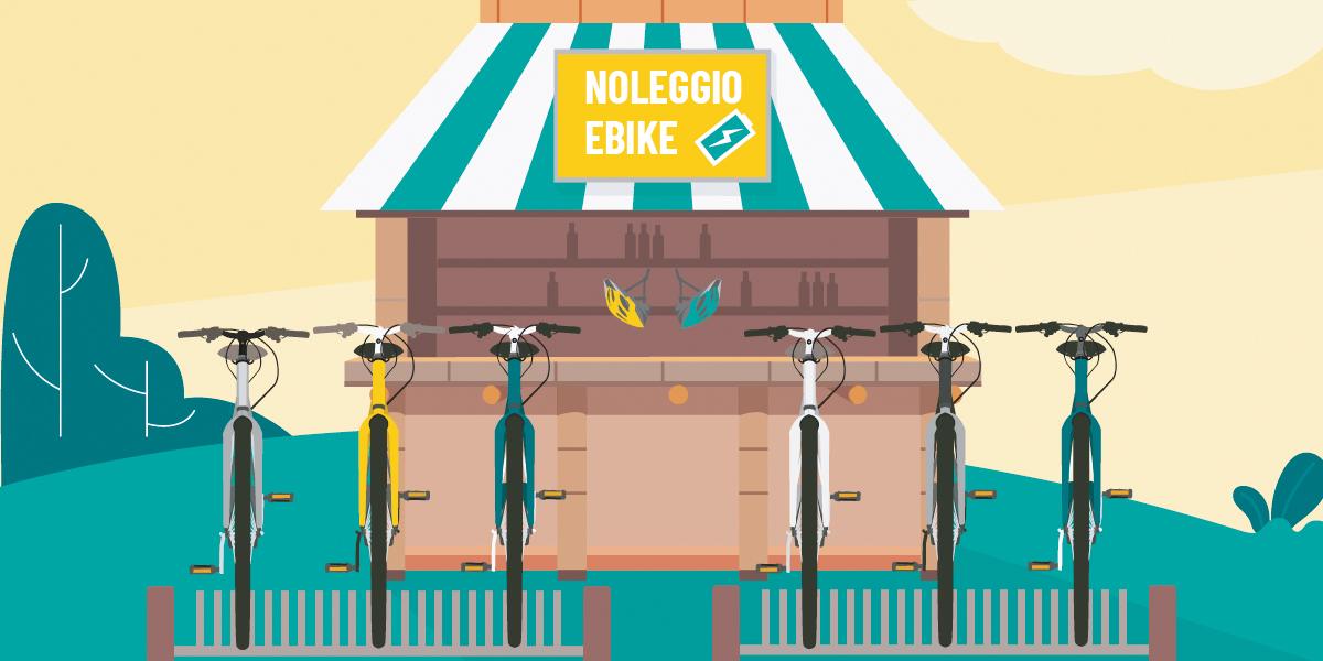 Illustrazione di un noleggio ebike realizzata da moma Studio per BiciLive 2021