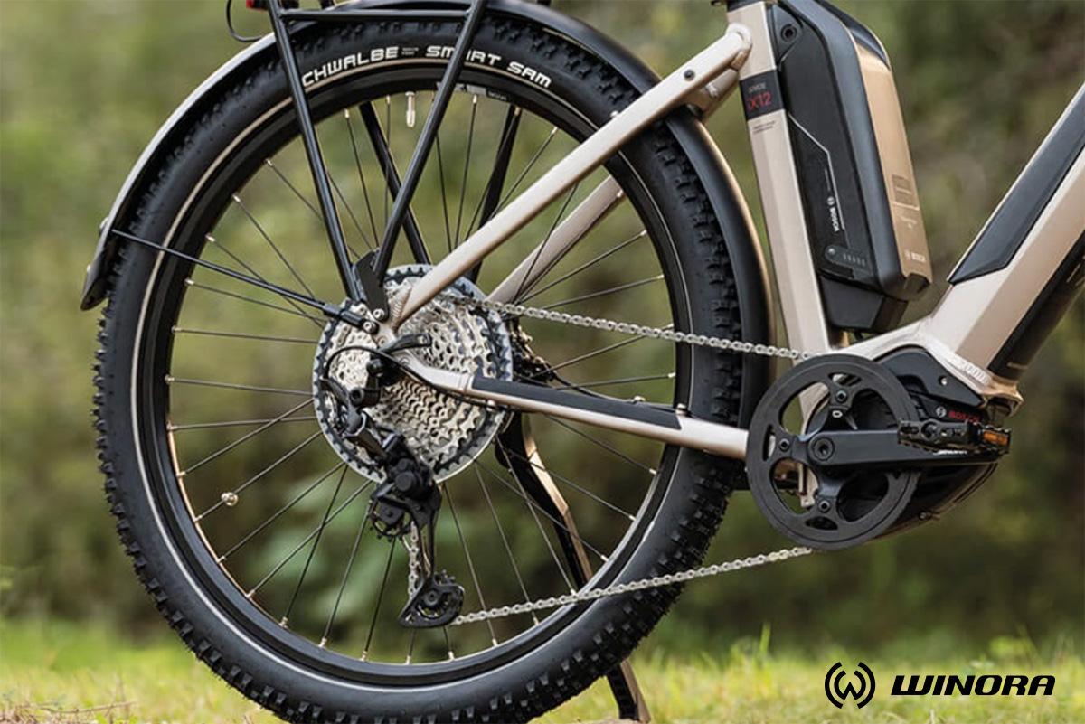 Dettaglio del cambio di una nuova bici elettrica da trekking Winora 2021