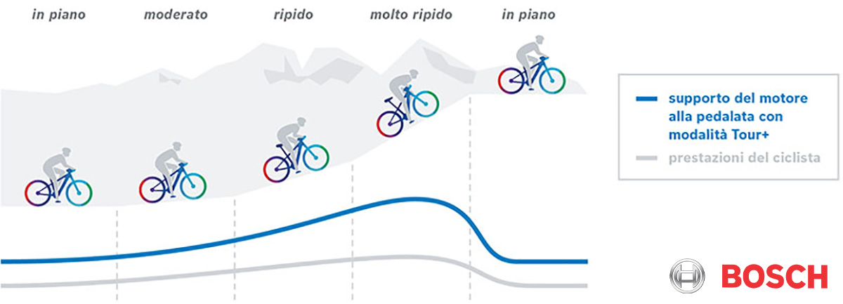 Un grafico mostra il livello di supporto della modalità di guida Tour+ in funzione del tratto affrontato
