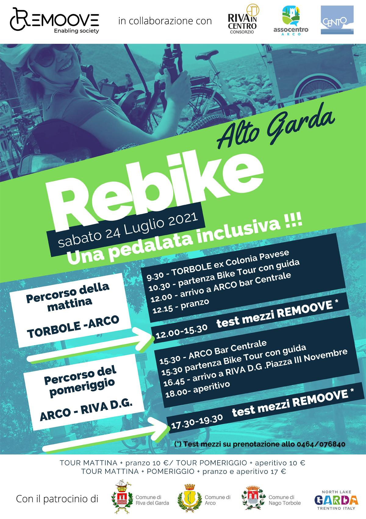 La locandina con il programma del Rebike Alto Garda 2021