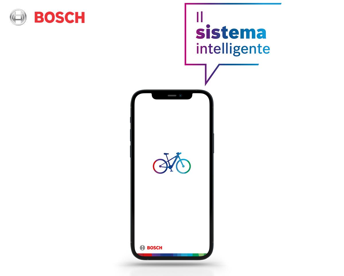 Uno smartphone mostra la schermata dell'App Bosch eBike Flow