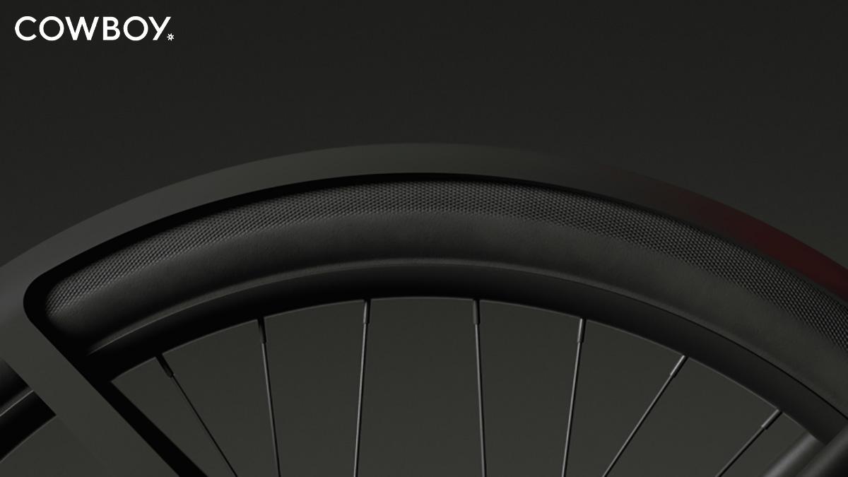 Dettaglio dello pneumatico montato sulle nuove bici elettriche Cowboy C4 2022