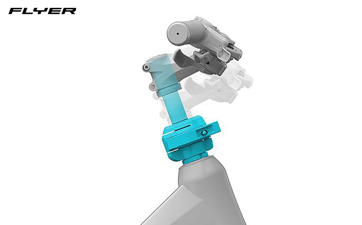 Dettaglio del manubrio regolabile presente su alcuni modelli di bici elettriche Flyer 2022