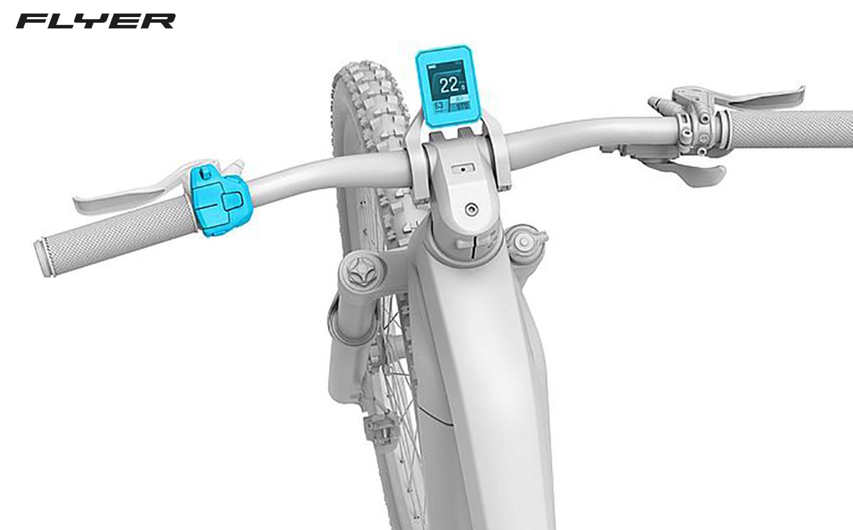 Dettaglio del display e dei comandi della nuova bici elettrica da trekking Flyer Goroc X 2022