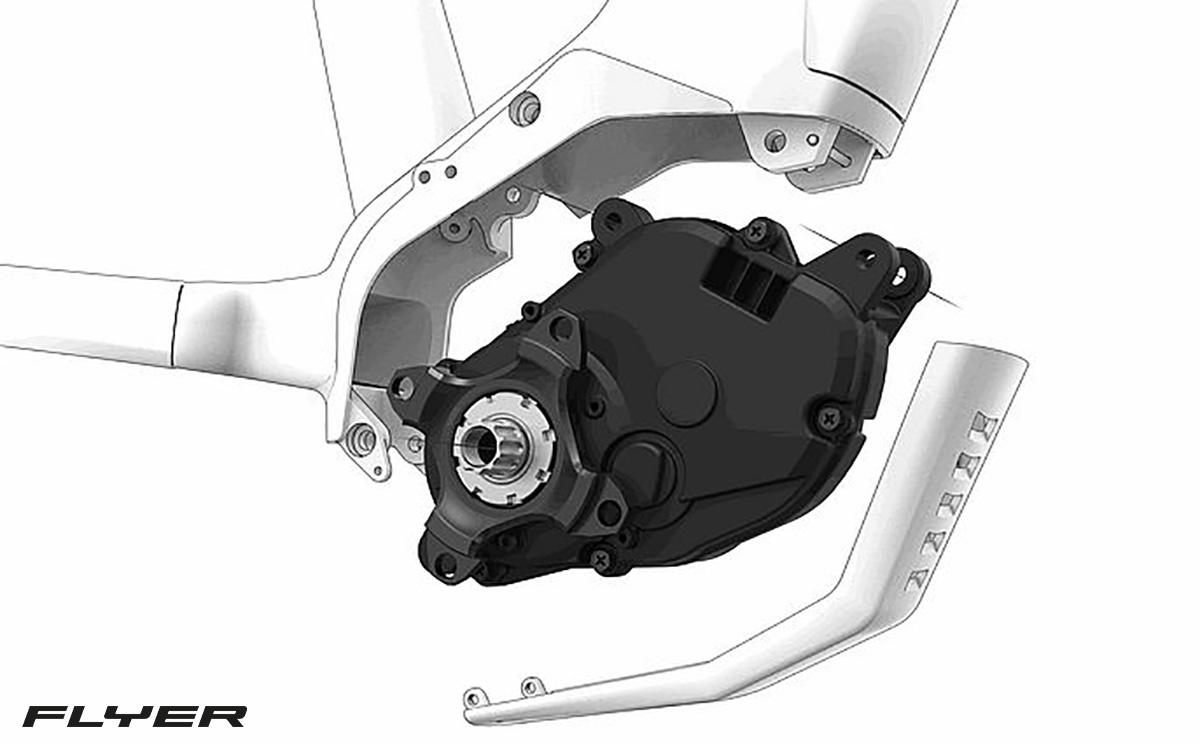 Dettaglio del motore dai 95nm montato sulla nuova bici elettrica da trekking Flyer Goroc X 2022
