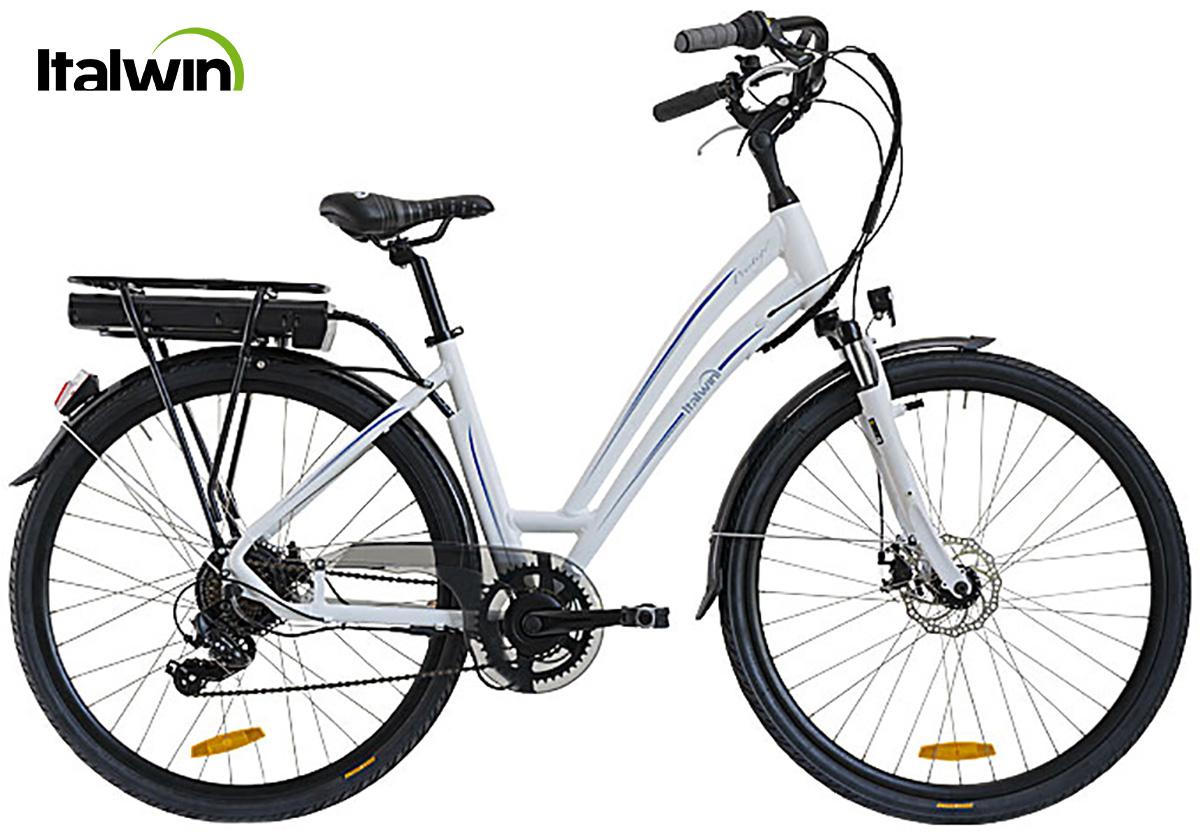 La bici elettrica Italwin Prestige2 in versione unisex e colorazione bianco-blu
