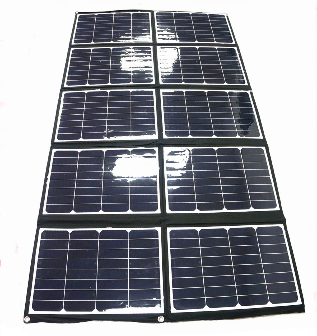 Il pannello solare spiegato e aperto
