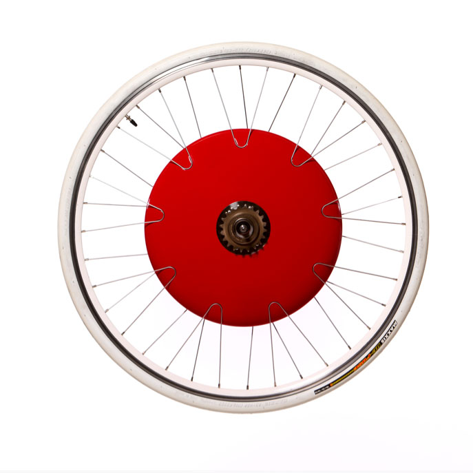 Una foto ravvicinata del kit Copenhagen Wheel